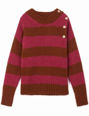 Leon & Harper miaki jumper - magenta stripes back