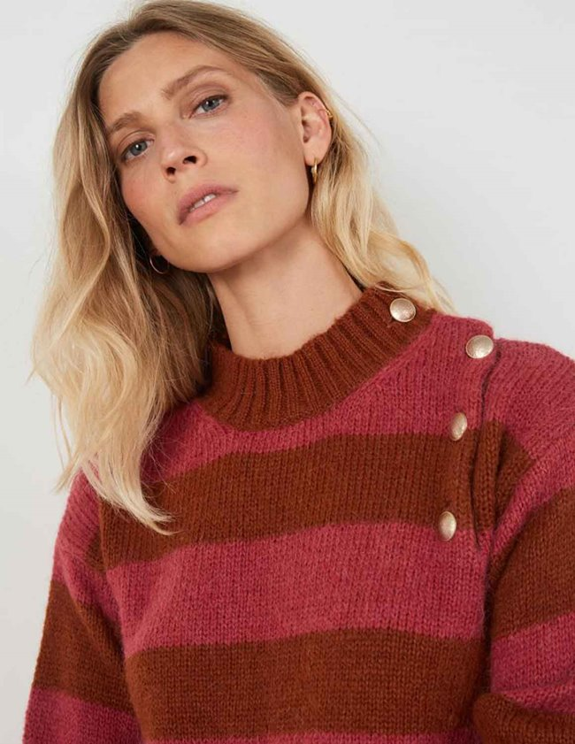 Leon & Harper miaki jumper - magenta stripes side