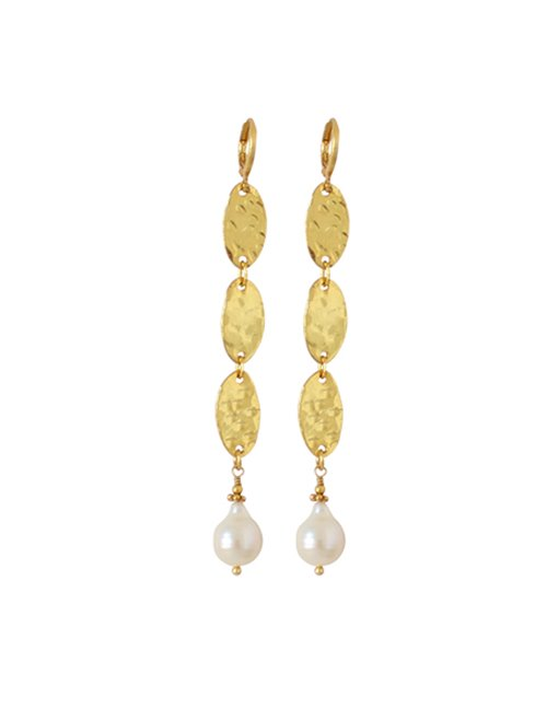 I am Jai e1613a three drop with pearl earrings - gold