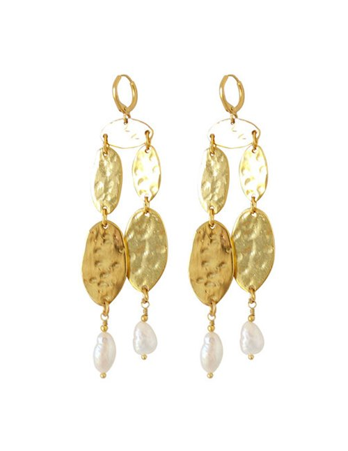 I am Jai e1613b two drop with pearl earrings - gold
