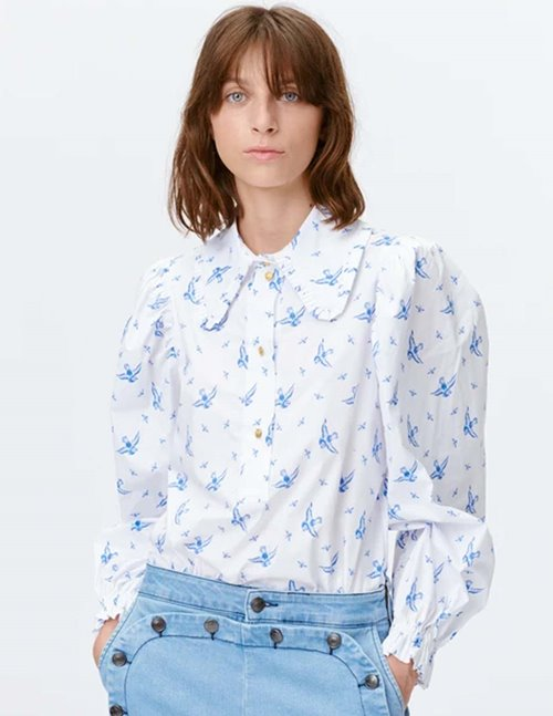 Munthe tosca sustainable blouse - white & blue