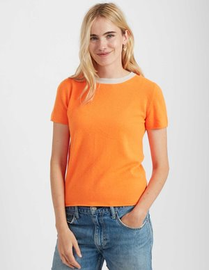 Jumper 1234 contrast crew knit - neon orange