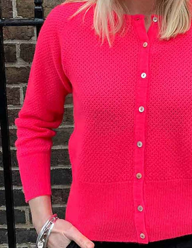Jumper 1234 string crew cardi - neon pink side