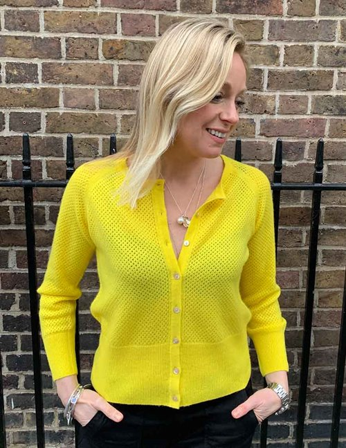 Jumper 1234 string crew cardi - yellow