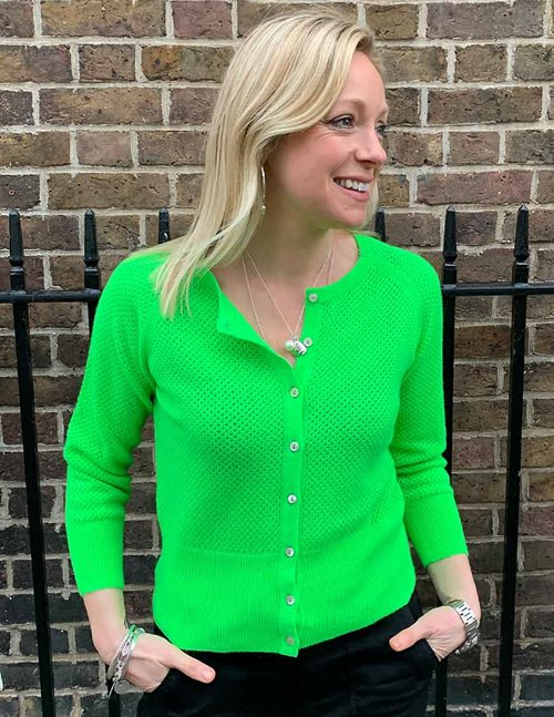 Jumper 1234 string crew cardi - neon green