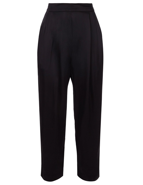 Velvet hillary satin viscose pleated trousers - black