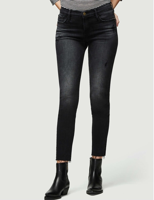 le garcon crop raw edge jeans - jacqueline grey