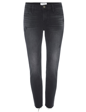 Frame le garcon crop raw edge jeans - jacqueline grey detail
