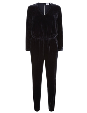 pol velvet jumpsuit - dark navy