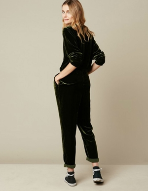 pol velvet jumpsuit - dark navy side