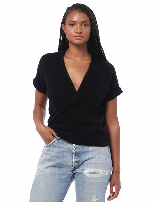 360 Cashmere audrina short sleeve jumper - black