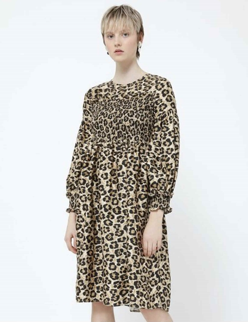 caitlin silk dress - natural leopard