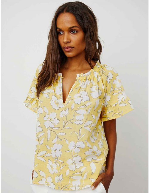 Velvet idette top - yellow