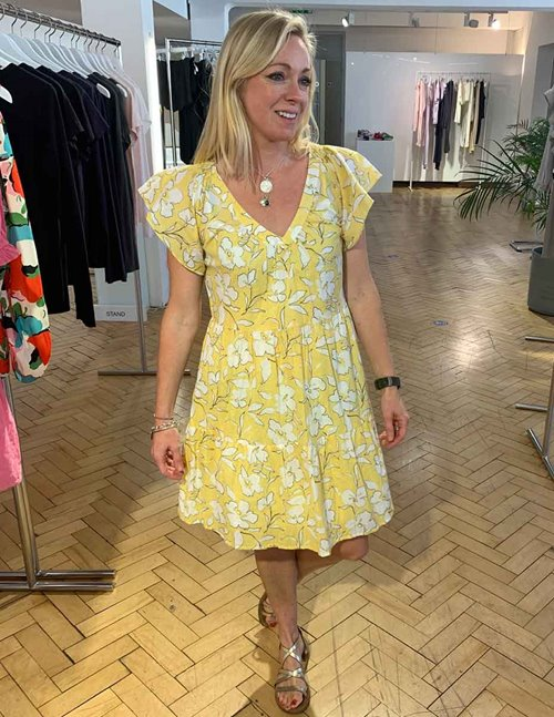 Velvet kellie dress - yellow