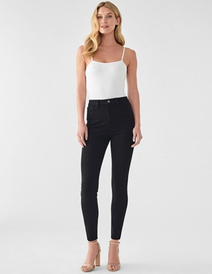 DL1961 chrissy ankle skinny jeans - hopper black back