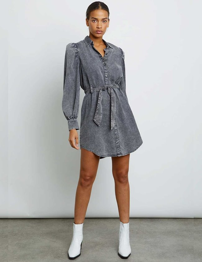 Rails adele shirt dress - black acid wash