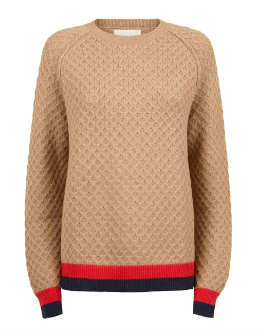 contrast stripe honey jumper - toffee
