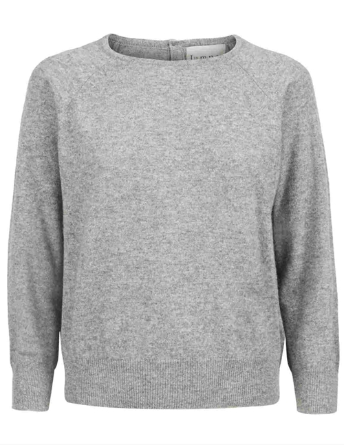button back crew jumper - mid grey
