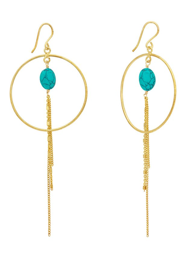 Une A Une bocct hoop cube earrings - turquoise