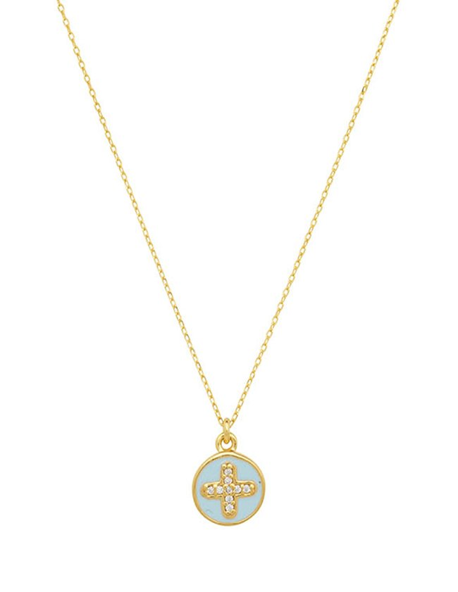 Une A Une cole cross necklace - blue