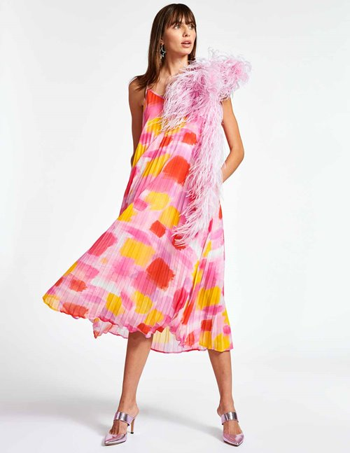 Essentiel Antwerp zague slipdress - pink & yellow