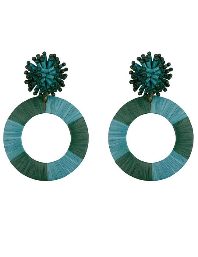 Feeka mariella raffia earrings - jade green