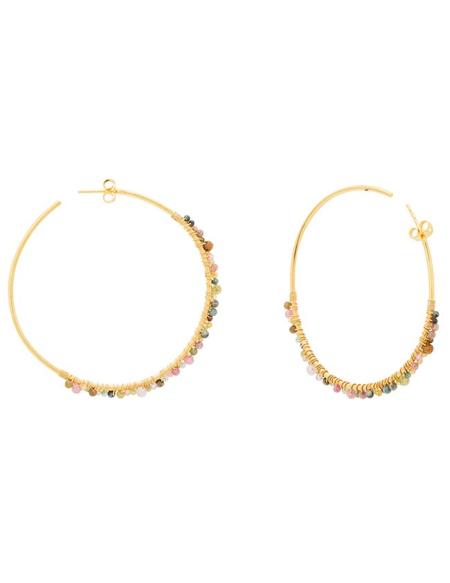 Une A Une bopgt hoop earrings - tourmaline