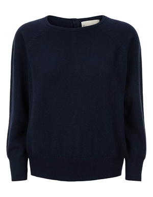 button back crew jumper - navy