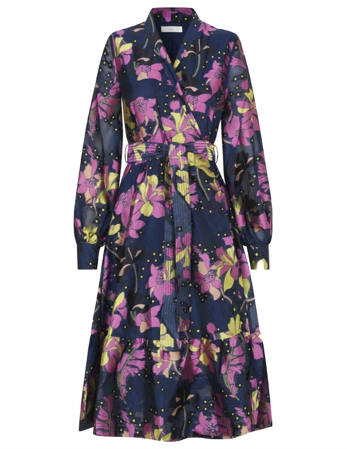 niki wrap dress - indigo blue / daffodil