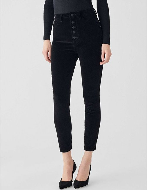 DL1961 chrissy velvet ankle skinny jeans - lost black