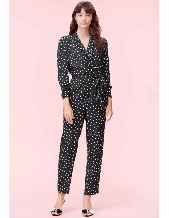 Rebecca Taylor long sleeve dot wrap jumpsuit - black
