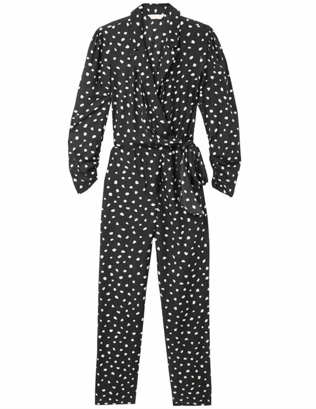Rebecca Taylor long sleeve dot wrap jumpsuit - black back