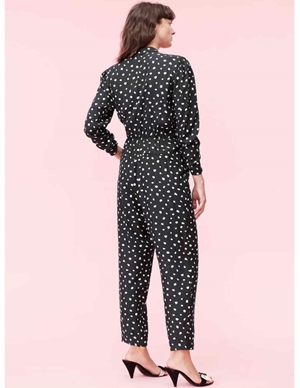 Rebecca Taylor long sleeve dot wrap jumpsuit - black detail