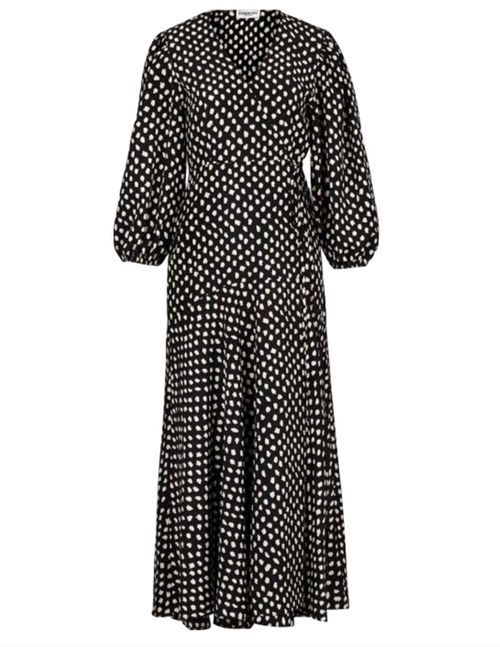 Essentiel Antwerp Vanessa Wrap Maxi Dress (Black/White)