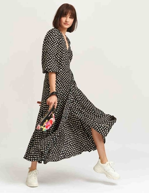 Essentiel Antwerp Vanessa Wrap Maxi Dress (Black/White) back
