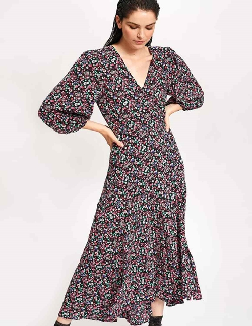 Essentiel Antwerp VIP Wrap Maxi Dress (Black Floral)