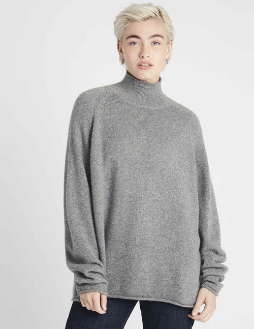 lurex winter cashmere sweater - grey