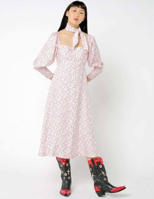 Shrimps sawyer silk dress - cream / red cat print