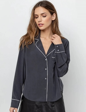 Rails amara silk shirt - charcoal grey back