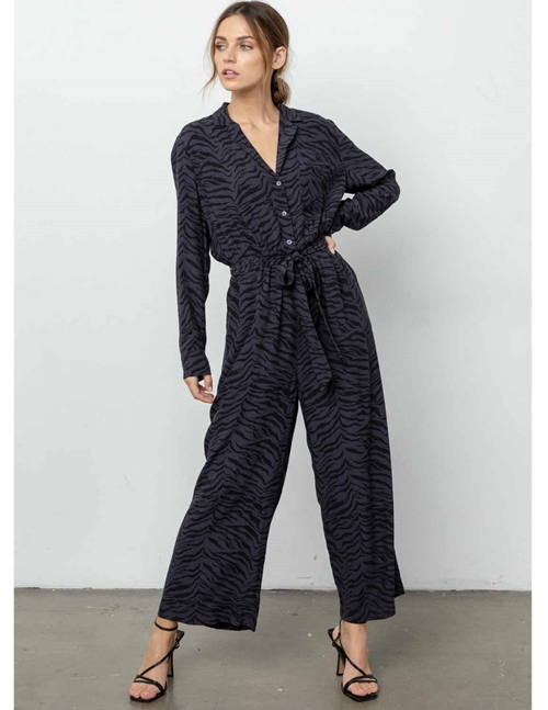 Rails callan jumpsuit - charcoal tiger stripe
