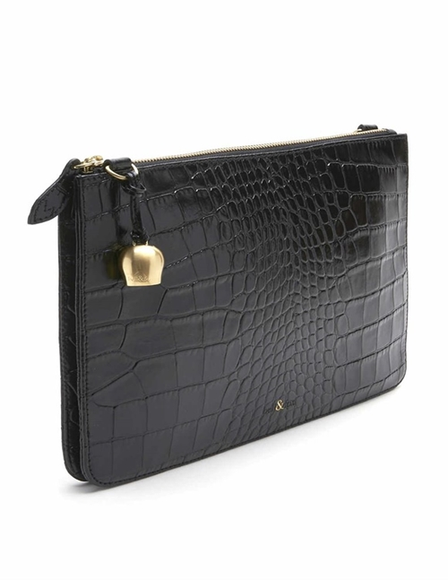 Bell & Fox gia leather oversize clutch / crossbody bag - black