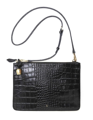 gia leather oversize clutch / crossbody bag - black back