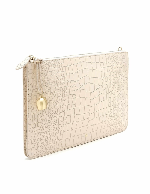 Bell & Fox gia leather oversize clutch / crossbody bag - powder