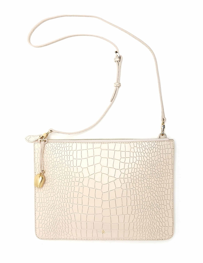 Bell & Fox gia leather oversize clutch / crossbody bag - powder back