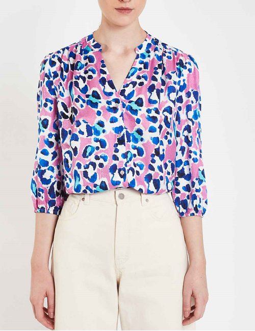 Pyrus solace blouse - pink painted animal