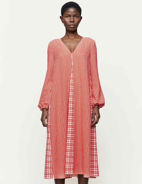 leila dress sustainable - red plaid
