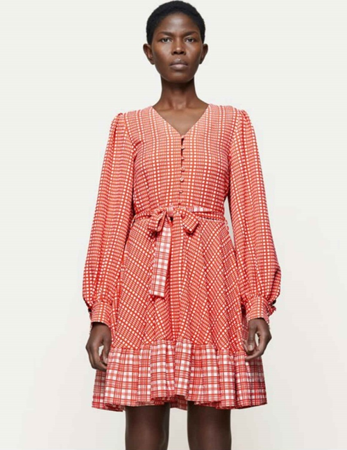 farrow dress sustainable - red plaid