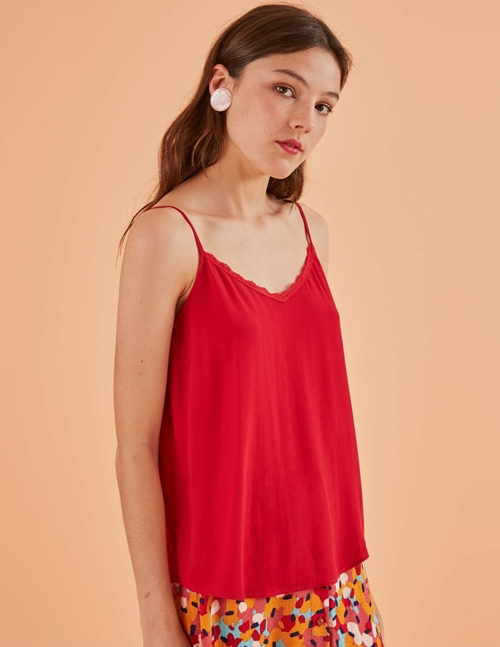 romelia cami top - red