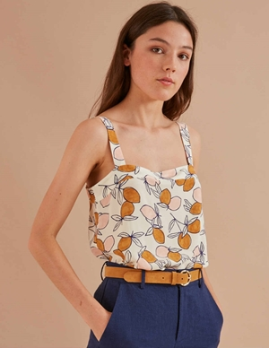rafou strappy top - ecru / lemons print