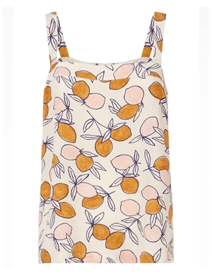 rafou strappy top - ecru / lemons print back